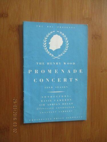 1946 HENRY WOOD PROMENADE CONCERTS ILLUSTRATED PROSPECTUS