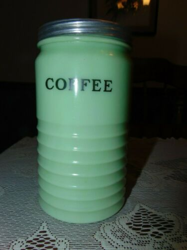 Early Jadeite Glass Coffee Container