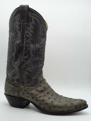 Justin, Gray, Full, Quill, Ostrich, Leather, Cowboy, Western, Roper, Boots, Mens, 10, A