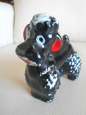 Made In Japan POODLE, Solid Black, Redware, Hand Painted RED CLAY, Vintage Charm