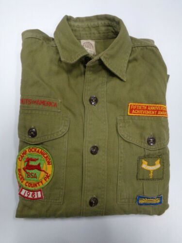 Vintage 1960 Boy Scouts Green Sanforized Shirt with Patches