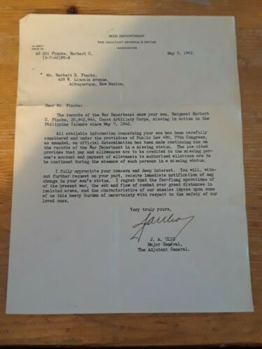 1943 War Department letter MISSING IN ACTION - Sgt Fincke MIA Philippines POW