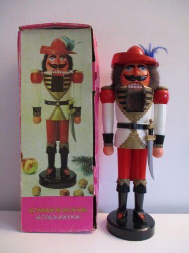 """Vintage 21"""" German Handmade Nussknacker Musketeer Nutcracker w/Box"""