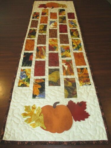 """Hand Made Quilted Table Runner/ Topper /Mat ~ Fall  ~12.5"""" x 38.5"""""""