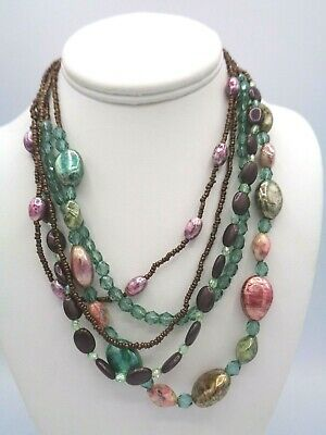 Multi Color Beads Necklace (Stunning Multi Strand Colored Iridescent & seed beads Necklace 16