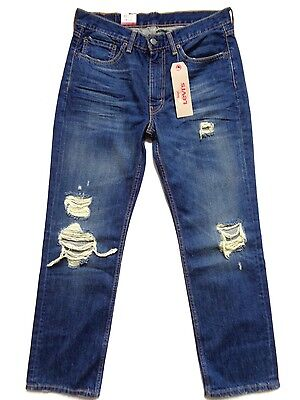 New Levi's 514 Straightforward Fit Distressed Ripped Denim Jeans in weight 36 x 32