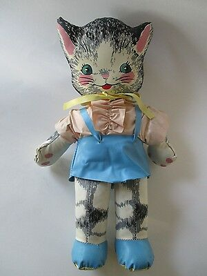 Vintage Stuffed Vinyl Animal CAT ~ Early 1950's Toy