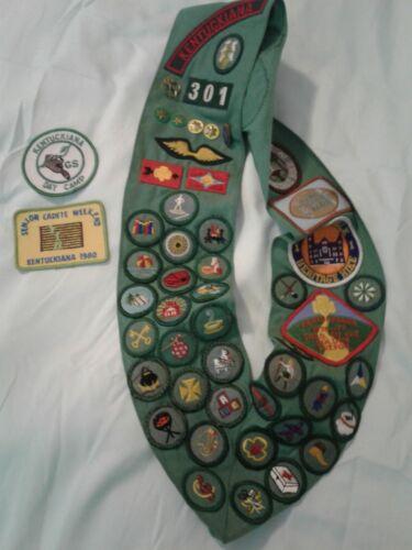 VTG 1970s Girl Scout Sash-Full-Kentuckiana-35 Junior Proficiency Badges & More