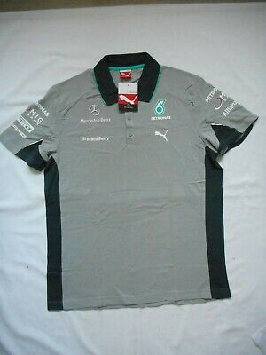 Mens Puma Official F1 Mercedes-Benz Petronas Grey Black Polo Shirt BNWT
