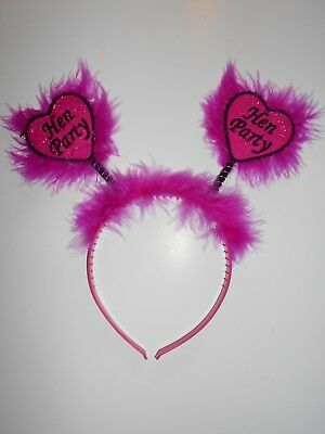 Hen Party Head Boppers  Fur Girls Ladies Night Out Pink Headband CERISE PINK