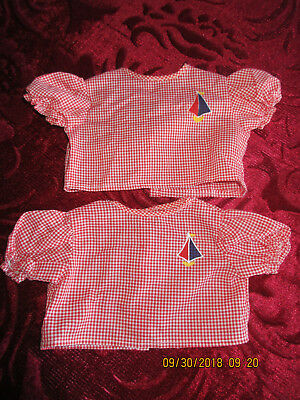 CABBAGE PATCH KIDS CLOTHES Twins Red Checkered Sailboat Shirts Shortsleeve  for sale  Weston