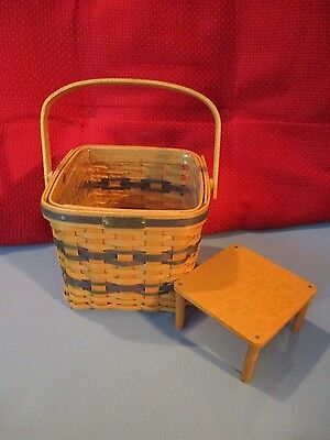 Longaberger 1999 JW Collection Mini Two Pie Basket w/ Protector, Stand, & COA