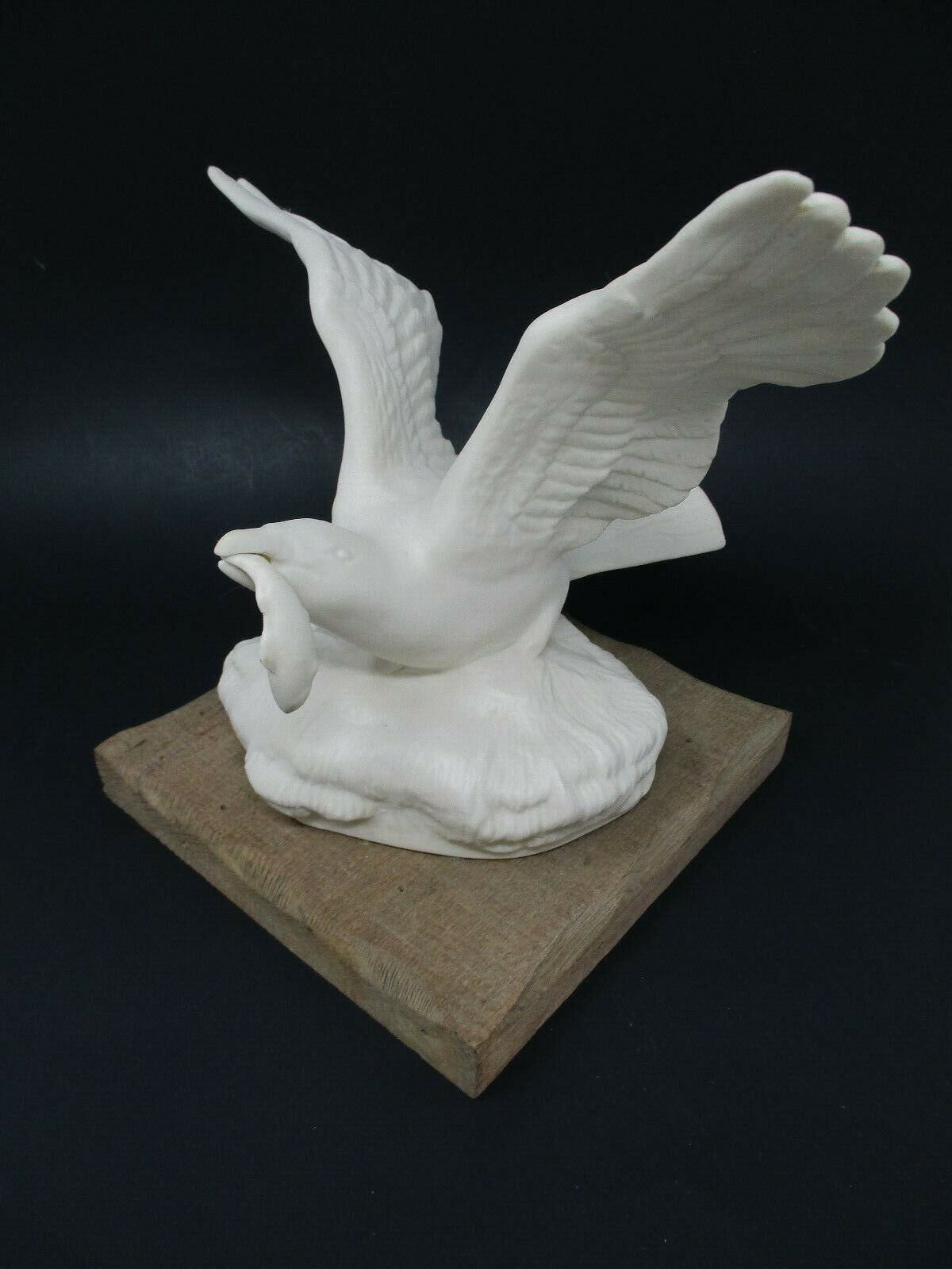 Vintage White Ceramic Seagull Figurine on Driftwood