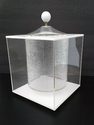 Vintage Modern Morgan Lucite Acrylic Cube Floating Ice Bucket Lid Canister Saks
