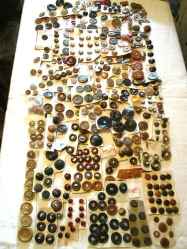 2 POUNDS - ALL ANTIQUE VINTAGE Mixed Materials CRAFT Clothing BUTTONS BROWN TAN