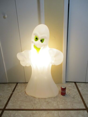 Vintage Spooky Ghost Green Eyes & Mouth Lighted Halloween Blow Mold RARE   (c)