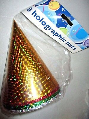 New Year Party Hats (NEW IN PACKAGE 8 New Year's Eve KID SIZE Holographic Elastic CONE Party HATS )