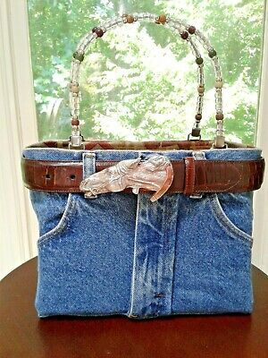 Bootie Bag With Brighton Brown Croc Patterned Horse Belt Tagged Recycled Denim Denim Purse Patterns