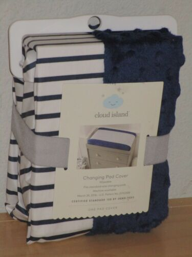 Cloud Island Navy Blue Stripe Changing Pad Cover Machine Washable Brand New