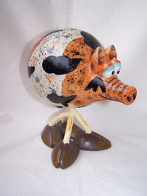 Wackel - Schwein aus Keramik in braun - schwarz  * Restposten *