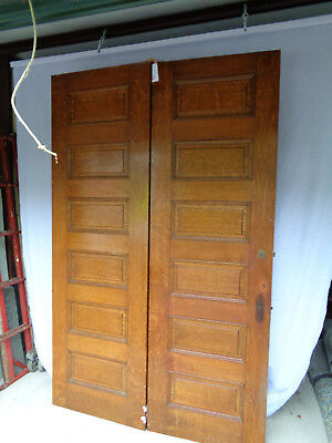 "MATCHING PAIR OF 88"" TALL X 28"" WIDE, 6 RAISED PANEL VICTORIAN INTERIOR DOORS"