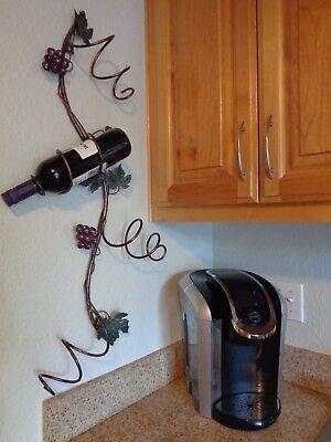 NEW Antique Wall Mount Wine Rack Bronze Gold 4 Bottle Holders Grapevine Metal