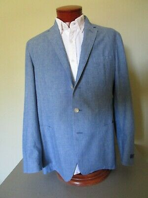 Polo Ralph Lauren Blue Cotton Chambray Suit Jacket Size 44 R $495 NWT