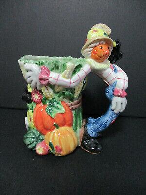 Colorful FALL Mug or Planter Thanksgiving Decorator Scarecrow Pumpkins Table Dec