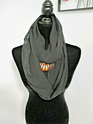 Black Infinity Scarf Lightweight Polyester