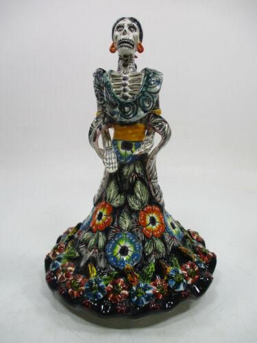 """10"""" TALAVERA CATRINA colorful handmade talavera pottery, mexican day of the dead"""
