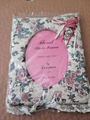 BN Loomco Floral Quilted Picture Frame w/Lace 5x7