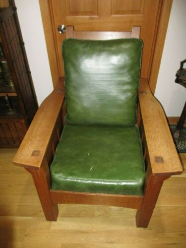 Antique KNAUS Arts & Crafts Mission Quarter Sawn Oak Morris Chair Slatted Sides