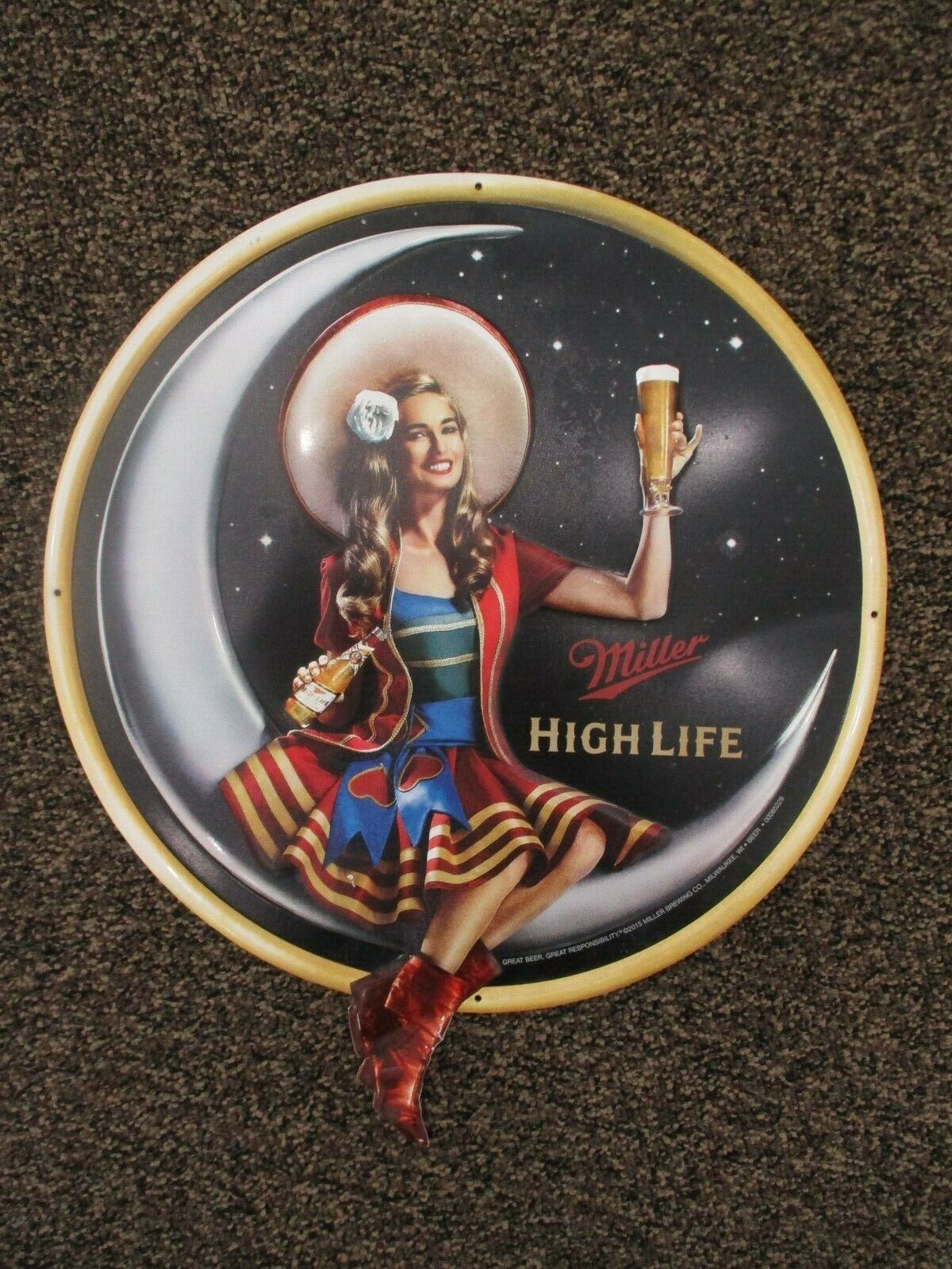 "Miller High Life Girl On Moon 16"" Round Tin Sign"