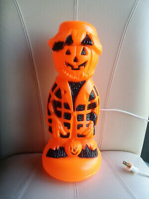 "Rare Vintage Scarecrow Pumpkin Halloween Blow Mold, Lighted, 13"" Tall"