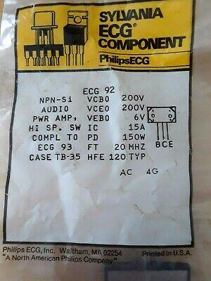 Ecg92 Npn Power Transistor Repl Nte92 P