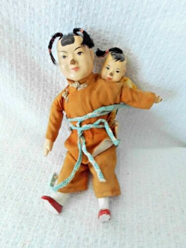 2 ANTIQUE COMPOSITION CHINESE DOLLS, MOTHER & BABY