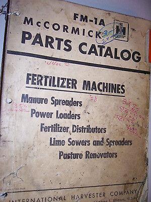 Vintage Ihc International Parts Manual - Fertilizer Machines- 1954