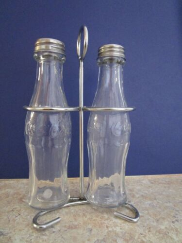 Clear Coca Cola Salt and Pepper Shakers with Rack