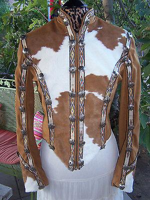 $2000~Stunning Custom Western Pleasure Cow Hair Onyx Concho Jacket~Show Season