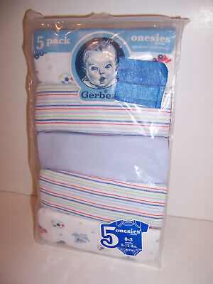 BOYS GERBER 5-PACK ONESIES BABY 100% Cotton CREEPERS Embroidered 3 Months NEW!  Pack Onesies