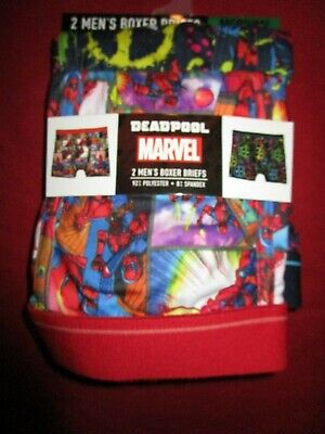 "2 Pair Mens Marvel Deadpool Ultra Soft Boxer Briefs Medium 32""-34"""
