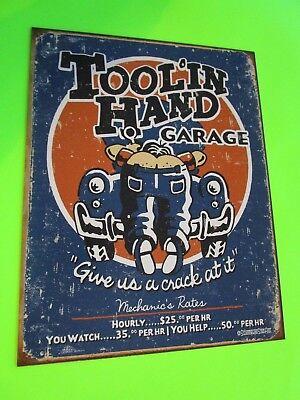 Tin Metal Home Garage Repair Shop Man Cave Decor Gas Oil Pin Up Girl Toolin Hand