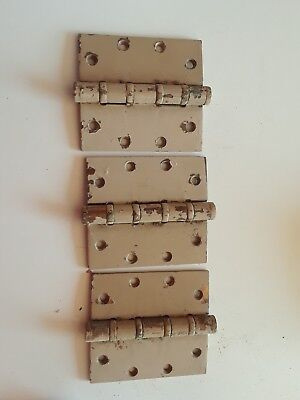 large antique door hinges.  Brass plated steel.  4.5