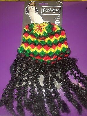 "PetCo Bootique""Rasta Cat Wig""OneSz Dog Costume Dreadlock Knit Cap Red Green Hat"