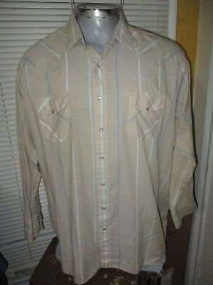 (Vintage Karman Brand Pearl Snap Shirt 3XL 19/19.5-36 Western Striped 3XB USA)