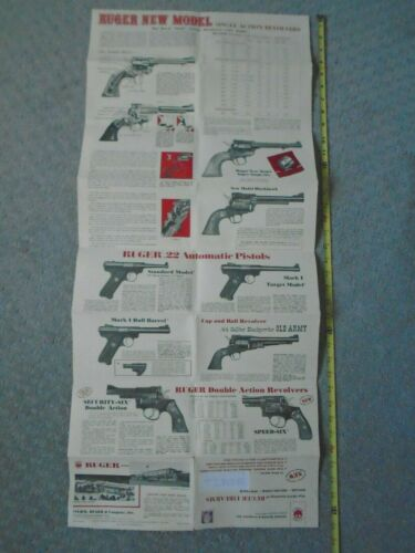 Ruger Firearms 1973 Fold Out Catalog Large Poster Gun FREE SHIPPING