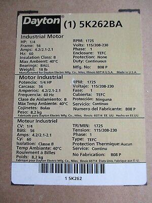 Dayton 5k262ba 14 Hp 1 Phase Tefc Electric Motor- New