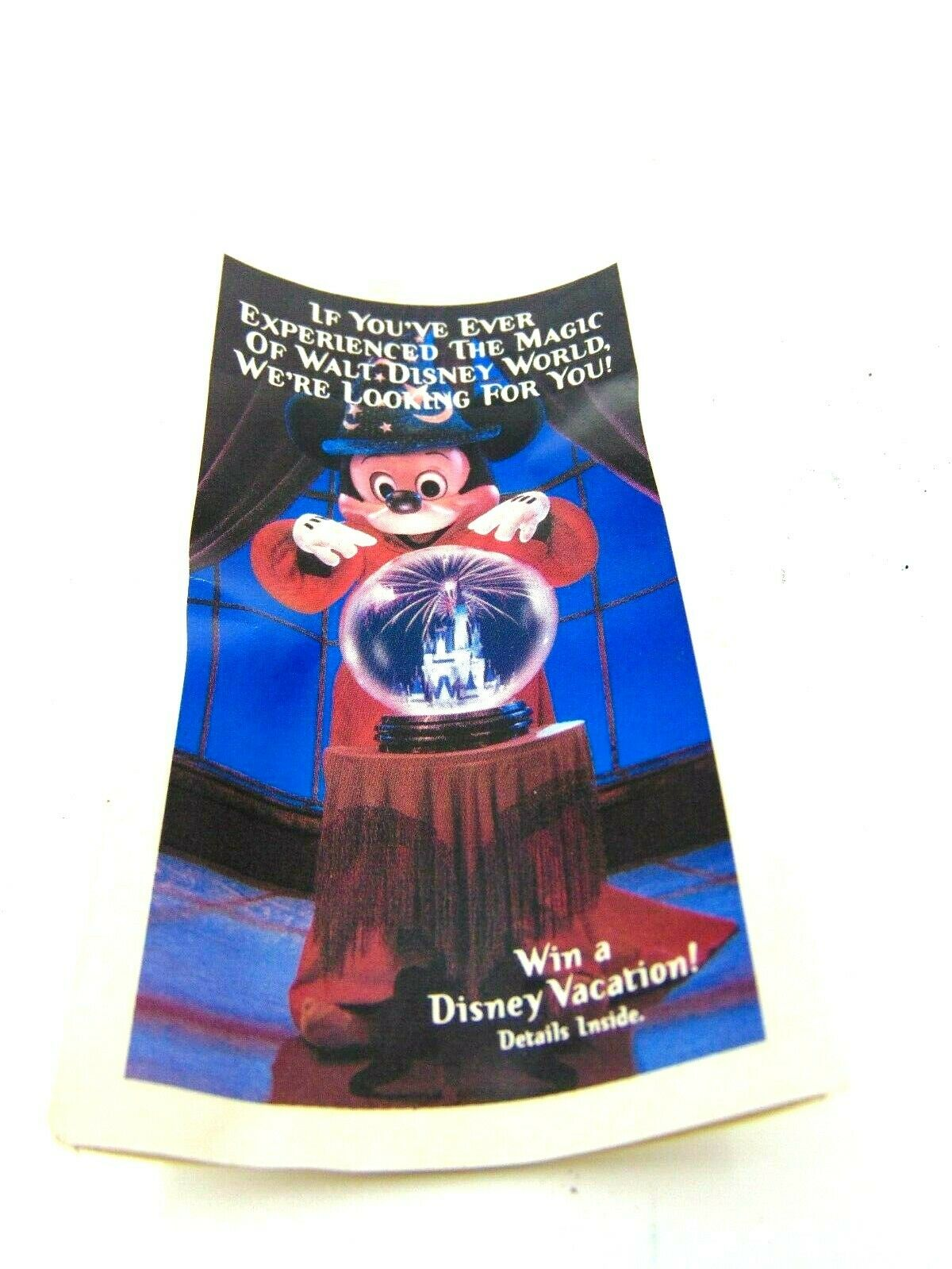 MICKEY MOUSE WALT DISNEY WORLD 25TH 1996 DRINKING GLASS 5 TALL FOLD OUT HOME - $12.99
