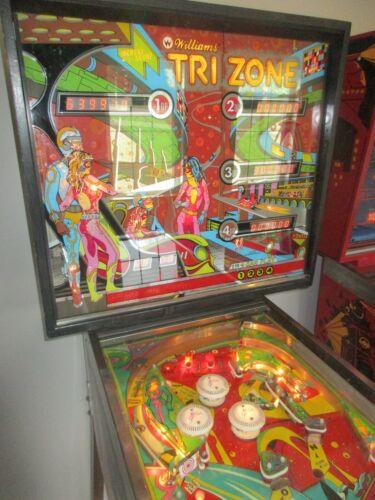 RARE Vtg 1979 Williams TRIZONE Pinball Game Machine Backglass NICE Playfield Lot