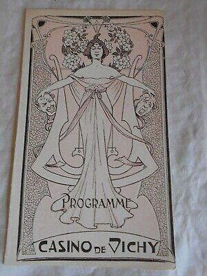 Vintage theatre programme casino de vichy art Nouveau cover Lucien Emery 1905
